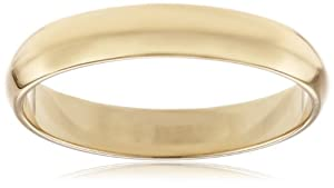 Men's 10k Yellow Gold 4mm Traditional Plain Wedding Band, Size 9.5