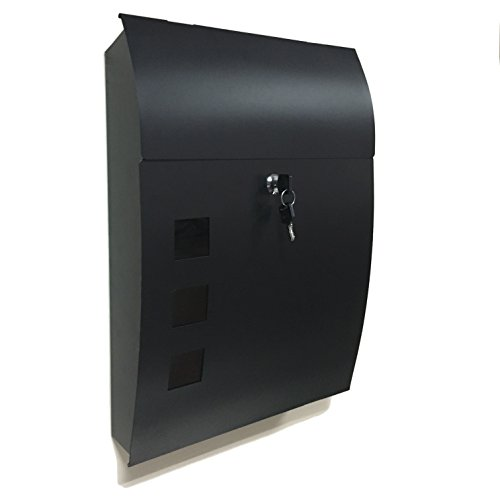 Black Wall Mounted Mailbox Large 18 Quot Vertical Locking Drop