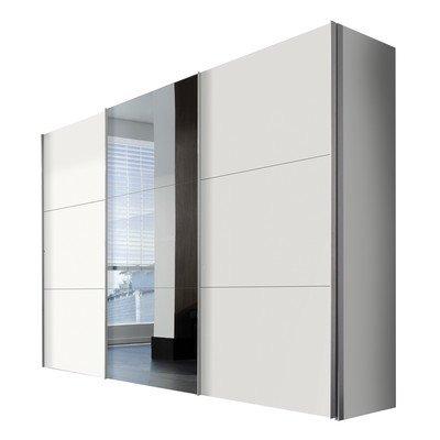 Solutions 45950-070 Schwebeturenschrank 3-turig, Korpus und Front polarweiß mit alufarbig Spiegel Griffleisten
