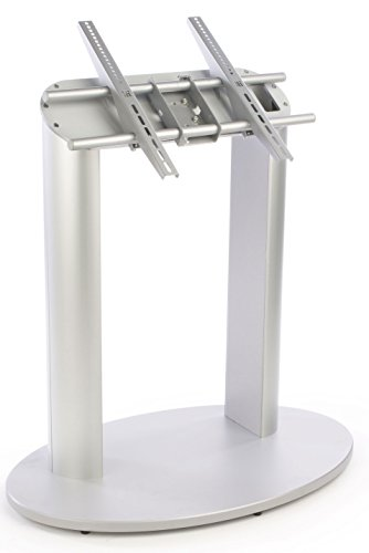 "Flat-Screen Monitor Stand With Angled Presentation, Vesa-Compatible Bracket Accommodates 42"" To 60"" Monitors, Silver Floor-Standing Fixture For Televisions - Perfect For Displaying Directories!"