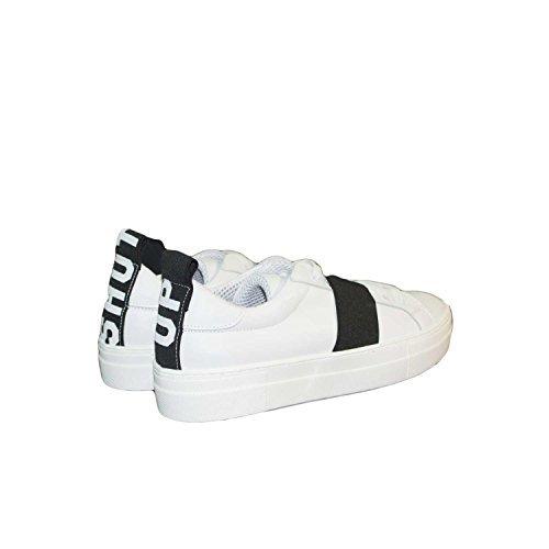 Sneakers bassa donna bianca fondo alto bicolore elastico Sportive Scarpa con scritta Shut Up vera pelle made in italy (37)