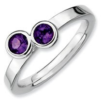 0.47ct Classic Silver Stackable Db Round Amethyst Ring. Sizes 5-10 Available
