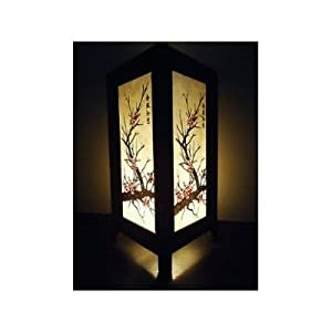 2 XThai Vintage Handmade ASIAN Oriental CHERRY BLOSSOM TREE Bedside Table Lights or Floor Wood Saa Paper Lamp Home Decor Bedroom Decoration from The Promise Thai Lanna Lamp