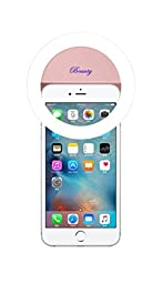 Demetory Ring Fill Light for iPhone 6s Plus/6s, iPad, Samsung Galaxy S6 Edge/S6, Galaxy Note 5, Blackberry, Sony Xperia, Motorola and All the Smart Phones (Light Pink)