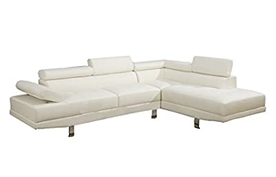 Poundex 2 Pieces Faux Leather Sectional Right Chaise Sofa, Assorted in White