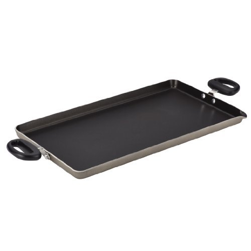Farberware Dishwasher Safe Nonstick Aluminum 18-Inch x 10-Inch Double Burner Griddle with Pour Spout, Champagne by Farberware (Double Burner Farberware compare prices)