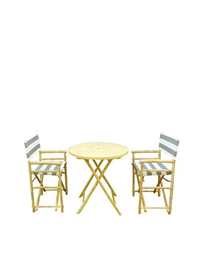 ZEW, Inc. Round Table & Director Chair Set, Navy/White