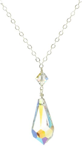 Sterling Silver Swarovski Elements Crystal Aurora Borealis Teardrop Pendant Necklace with Bicone Necklace, 18