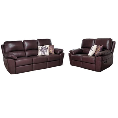 Reclining Sofa Suite - 3 and 2 Seater - Faux Leather - Ivory