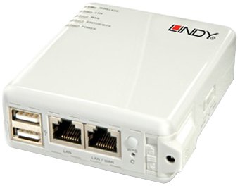 Lindy 52060 - Router (10, 100 Mbit/s, IEEE 802.11b, IEEE 802.11g, IEEE 802.11n, 128-bit WEP, 256-bit WEP, 64-bit WEP, WPA, WPA2) Color blanco