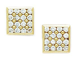 14ct Yellow Gold CZ Medium Multistone Square Fancy Post Earrings - Measures 10x10mm
