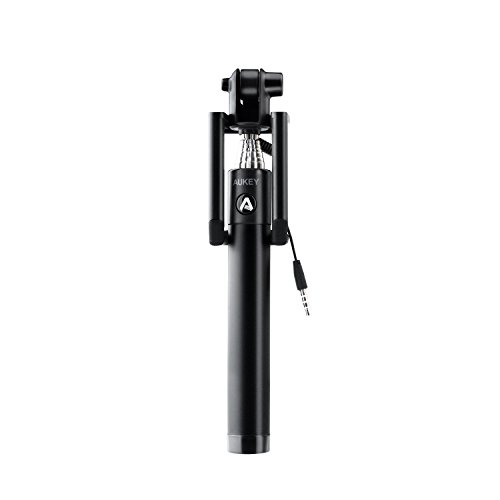 Aukey 自撮り棒 有線タイプ セルフィースティック セルカ棒 iPhone/Android対応 (ブラック)HD-P8