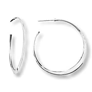 Hoop Earrings Polished Flat Tapered Sterling Silver