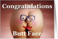 Congratulations Butt Face, Woman's Naked Butt with Face Card