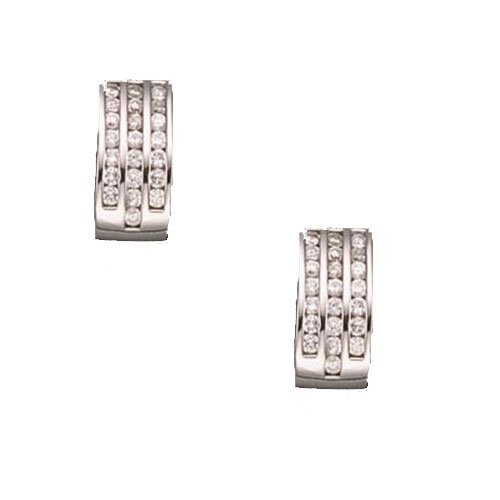C.Z. 3 Row (.925) Sterling Silver Earring (Nice Holiday Gift, Special Black Firday Sale)