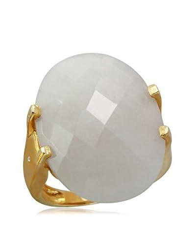 Fashion Strada 14K Gold Agate & Diamond Ring, Size 7