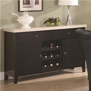 Server Sideboard Marble Top With Wine Rack In Dark Cappuccino Finish front-24101