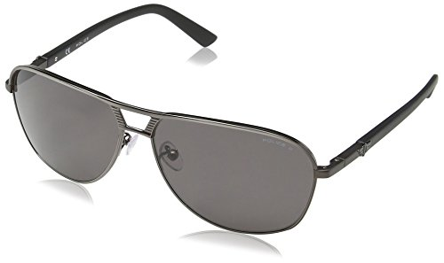 Police - Occhiali da sole S8849 Flash 2 Aviatore, Uomo, SHINY GUNMETAL FRAME / SMOKE LENS