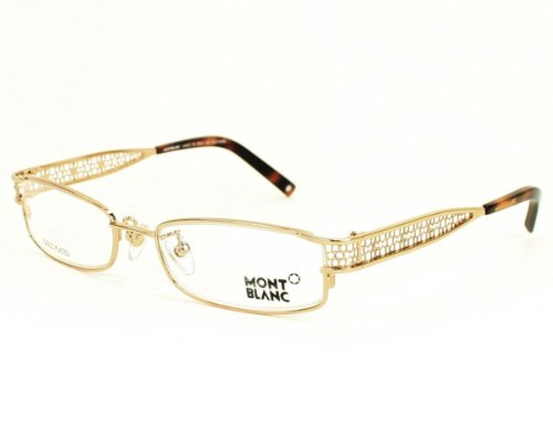 MONT BLANC GLASSES DESIGNER FASHION PRESCRIPTION EYEGLASSES UNISEX AUTHENTIC SHINY ROSE GOLD PATED RHINESTONES FRAME  DEMO LENS MB152-F90