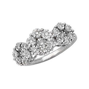 Buymyjewellery Flower Set Diamond Ring In White Gold