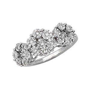 Buymyjewellery Flower Set Diamond Ring In White Gold