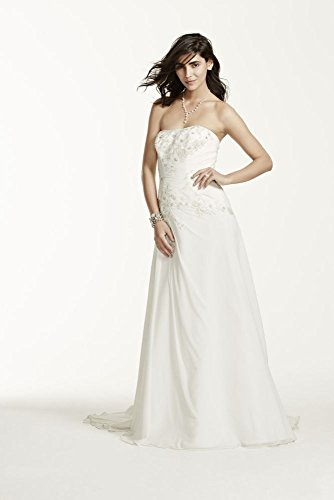 Chiffon over satin wedding dress with side draped skirt for Side draped wedding dress
