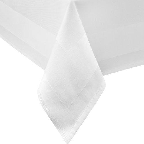 DAMAST Tischdecke ECKIG 130x130 130 x 130 cm bei 95°C waschbar Weiss Atlaskante 100% Baumwolle Tischwäsche Tablecloths von DecoHometextil