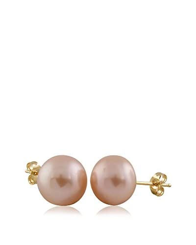 Splendid Pearls 9mm Pink Freshwater Cultured Pearl Button Earrings