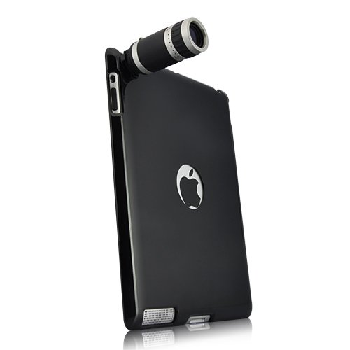 TourMate Optical 6X Zoom Lens Camera Telescope with Black Back Case For Apple iPad 2 (All Models)
