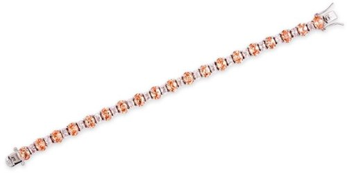 Silver Prong-Set Cubic Zirconia Citrine Diamond Tennis Bracelet (Nice Holiday Gift, Special Black Firday Sale)