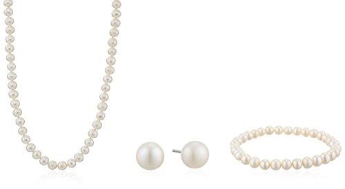 Sterling Silver 5.5-6mm Genuine Freshwater Cultured White Pearl Necklace Bracelet Stud Earrings Set