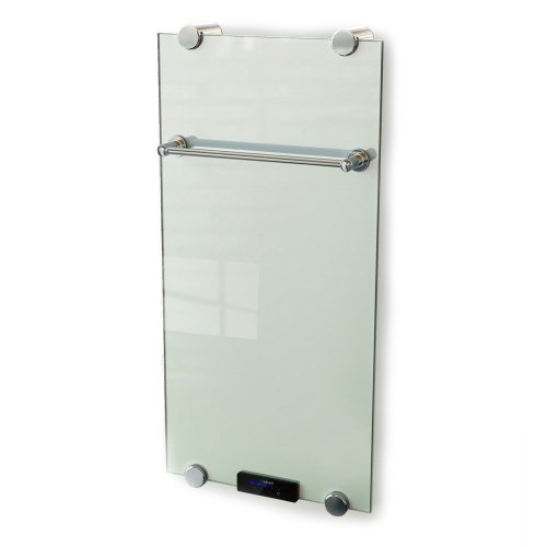 230 V. Wall Mounted Luxury Electric Glass Radiator Panel Heater 730W Optimo With Remote, Thermostat