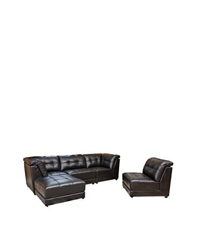 Abbyson Living Donovan 5-Piece Modular Leather Sectional, Black