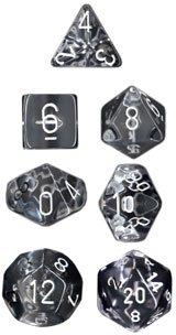 CHESSEX TRPGダイス/サイコロ Translucent Polyhedral(多面体) Clear w/white 7個セット