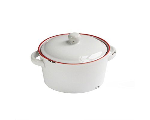 American Atelier Vintage Casserole Dish With Lid Red Small Home Garden Kitchen Dining Cookware