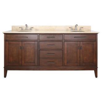"""Madison Tobacco 73"""" Wide Marble Top Sink Vanity"""