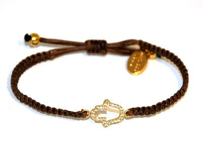 Adjustable Cz Golden Hamsa Bracelet for Good Luck and Protection