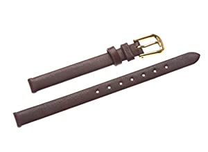 Uyoung 10mm Women's Brown Genuine Leather Golden Clasp Thin Watch Band