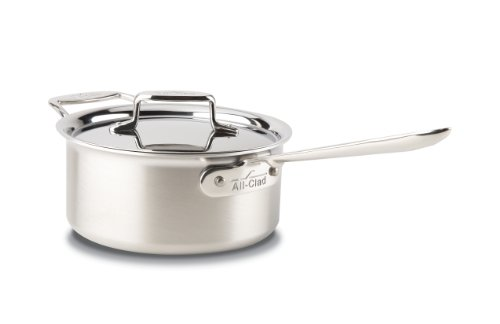 All-Clad BD55203 D5 Brushed Stainless Steel 5-Ply Bonded Dishwasher Safe Sauce Pan with Lid / Cookware, 3-Quart, Silver