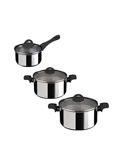 Mepra Fantasia Pietra 6-Piece Non-Stick Cookware Set, Black