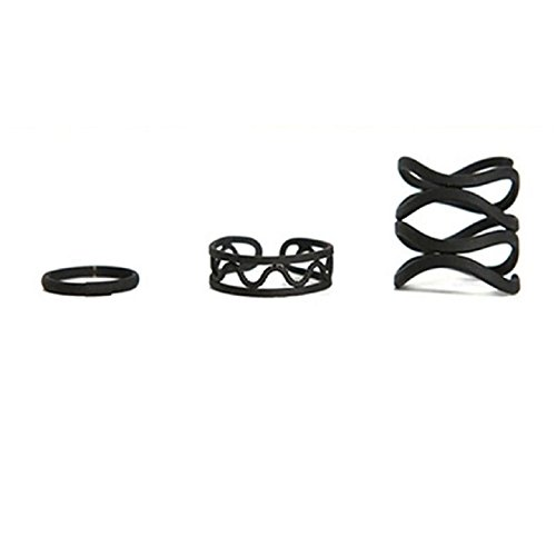 Ularmo 2015 Womens Punk Black Stack Plain Above Knuckle Ring Midi Finger Tip Rings Set (Black Rings For Teens compare prices)