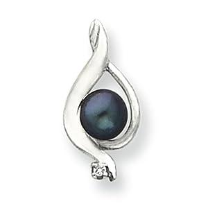 14k White Gold 5.5mm Black Pearl G-H SI2 Diamond pendant. Carat Wt- 0.016ct