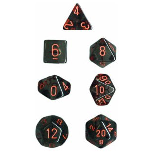 Polyhedral 7-Die Translucent Dice Set - Smoke with Red