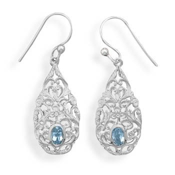 Pear Shape Blue Topaz Drop Earrings