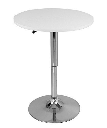 Bartisch-Bistrotisch-1x-Weiss-verchromter-Stahl-und-MDF-hhenverstellbarer-Tisch-BT02ws
