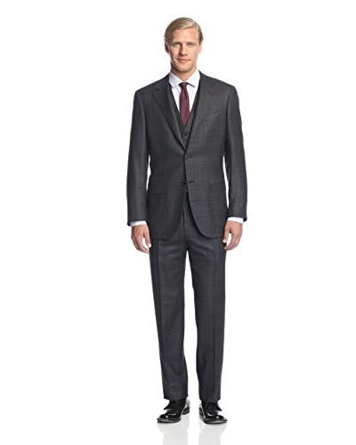 Canali Men's Three Piece Plaid Suit