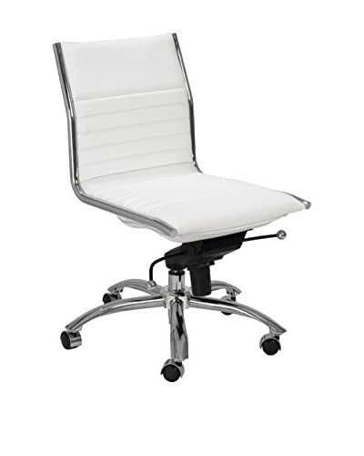 Euro Style Dirk Low Back Office Chair No Arms, White