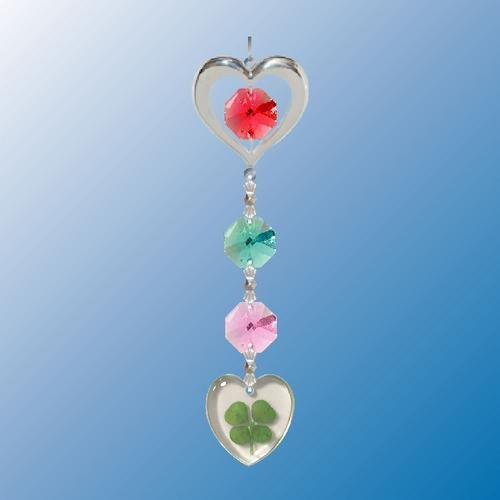 Heart Charm Chain with Heart Shapped 4 Leaf Clover ... Hanging Sun Catcher or Ornament..... With Ass'ted Color Swarovski Austrian Crystals - 1