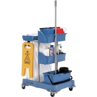 Winware Janitorial Cart The complete janitorial solution with multilpe bins, broom/mop clamp, mop bucket and wringer. Castors feature buffers to minimise accidental damage.
