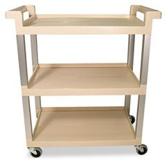 Rubbermaid Commercial Plastic Service Cart with Brushed Aluminum Uprights, 3 Shelves, Beige, 100lbs Capacity, 36
